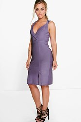 Boohoo Kelly Shimmer Plunge Neck Midi Dress Lilac