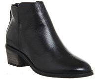 Office Library Casual Back Zip Boots Black Leather