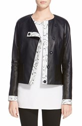 Women's St. John Collection Snake Embossed Trim Luxe Nappa Leather Jacket