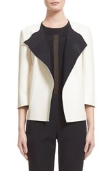 Women's St. John Collection Bonded Nappa Leather Jacket Alabaster Caviar