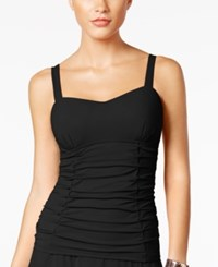 Gottex Profile By Origami Bra Sized Underwire Ruched Tankini Top Women's Swimsuit Black