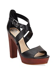 Vince Camuto Eliza Leather And Wood Platform Sandals Black