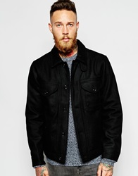 Lee Wool Jacket Zip Front Quilted Lining Black