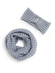 Saks Fifth Avenue Sparkle Knit Infinity Scarf And Headband Gift Set Glacial Blue