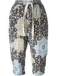 Sea Mixed Print Harem Trousers Black