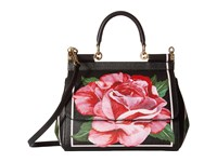 Dolce And Gabbana Floral Printed Small Sicily Bag Black