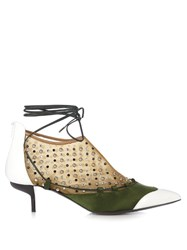 J.W.Anderson Embellished Lace Up Leather And Satin Pumps Green White