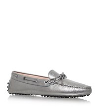 Tod's Gommino Heaven Laced Driving Shoes Female Silver