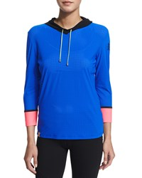 Monreal London Lightweight Perforated Performance Hoodie Blue