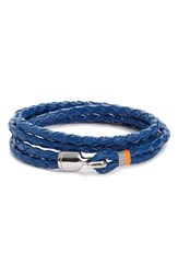 Miansai Men's 'Trice' Braided Leather Wrap Bracelet Blue