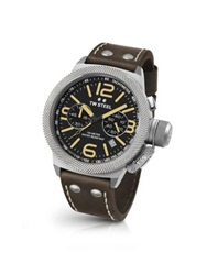 Tw Steel Canteen Chronograph Stainless Steel And Leather Strap Watch Brown Silver