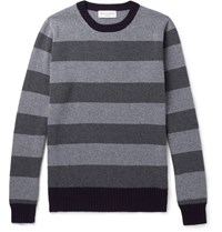 Officine Generale Striped Merino Wool And Cashmere Blend Sweater Gray