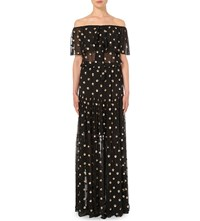 Temperley London Off The Shoulder Chiffon Gown Black