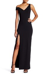 Abs By Allen Schwartz Double V Asymmetric Maxi Gown Black