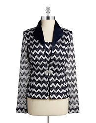 Cachet Plus 2 Piece Chevron Cardigan Set Silver Navy