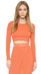 Torn By Ronny Kobo Laszlo Ribbed Crop Top Coral