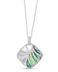Frederic Sage Venus 18K White Gold And Abalone Pendant Necklace With Diamonds