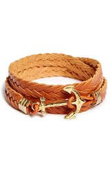 Men's Kiel James Patrick 'Oak Crispin' Braided Leather Wrap Bracelet