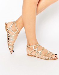 Faith Jet Gold Gladiator Flat Sandals Gold