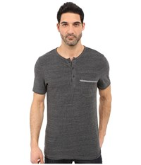 Michael Stars Short Sleeve Linen Jersey Henley Heather Grey Men's Clothing Gray