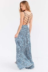 Silence And Noise Silence Noise Water Works Strappy Back Dress Blue Multi