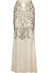 Alice Olivia Rizo Embellished Silk Chiffon And Tulle Maxi Skirt White