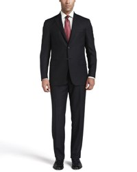 Isaia Solid Wool Suit Black