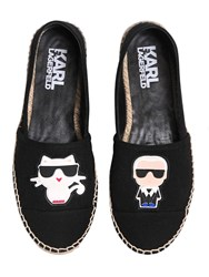 Karl Lagerfeld And Choupette Cotton Espadrilles