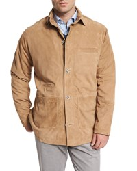 Peter Millar Suede Button Down Shirt Jacket Beige Stone
