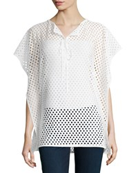 Grayse Laser Cut Tie Neck Top White
