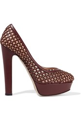 Valentino Studded Perforated Leather And Mesh Platform Pumps Merlot