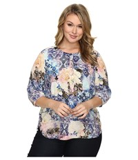 Nydj Plus Size Solid 3 4 Sleeve Pleat Back Morroccan Rose Women's Long Sleeve Button Up Multi