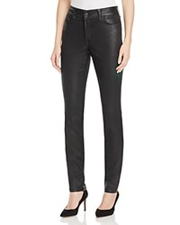 Nydj Alina Coated Faux Leather Legging Ankle Jeans In Black Grey Black Grey