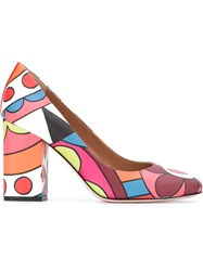 Red Valentino Flower Print Pumps Pink And Purple