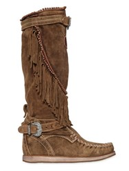 El Vaquero 70Mm Fringed Suede Wedge Boots