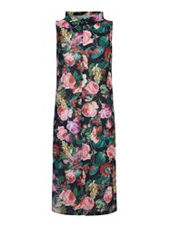 Mela Loves London Rose Print Midi Shirt Dress Multi Coloured