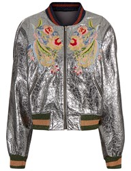 Aviu Silver Embroidered Bomber Jacket