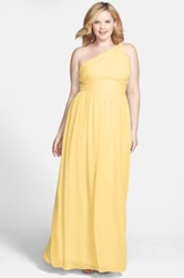 Donna Morgan 'Rachel' Ruched One Shoulder Chiffon Gown Plus Size Yellow