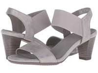Ara Ronda Grey Metallic Suede Elastic Women's Sandals Gray
