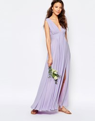 Fame And Partners Tall Valencia Maxi Dress With Cut Out Back Lavender Purple