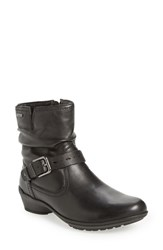 Rockport Cobb Hill Women's 'Riley' Waterproof Buckle Strap Bootie Black Leather