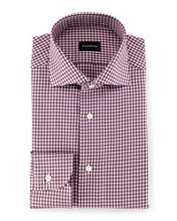 Ermenegildo Zegna Box Check Twill Sport Shirt Burgundy