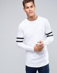 Jack And Jones Long Sleeve Top With Sports Stripe White