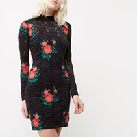 River Island Womens Petite Black Rose Embroidered Lace Mini Dress