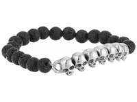 King Baby Studio 8Mm Lava Rock Beaded Bracelet With Multi Skull Bridge