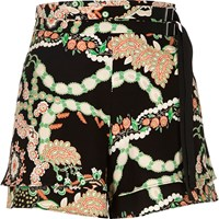 River Island Womens Black Floral Print High Waisted Belted Shorts