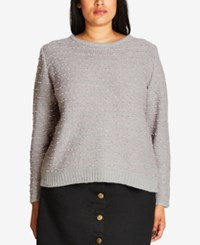 City Chic Trendy Plus Size Textured Sweater Lilac