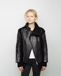 Sacai Bonded Leather Moto Jacket Black