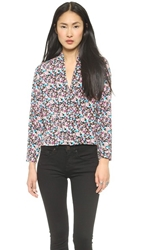 Tbags Los Angeles V Neck Long Sleeve Blouse Multi