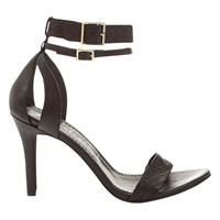 Mint Velvet Eloise Ankle Strap High Heel Sandals Black Leather